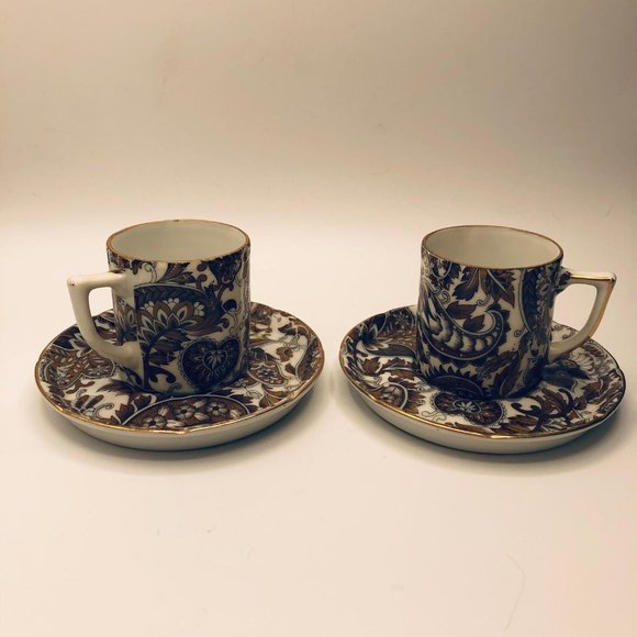 Vintage ceramic paisley print demitasse cups